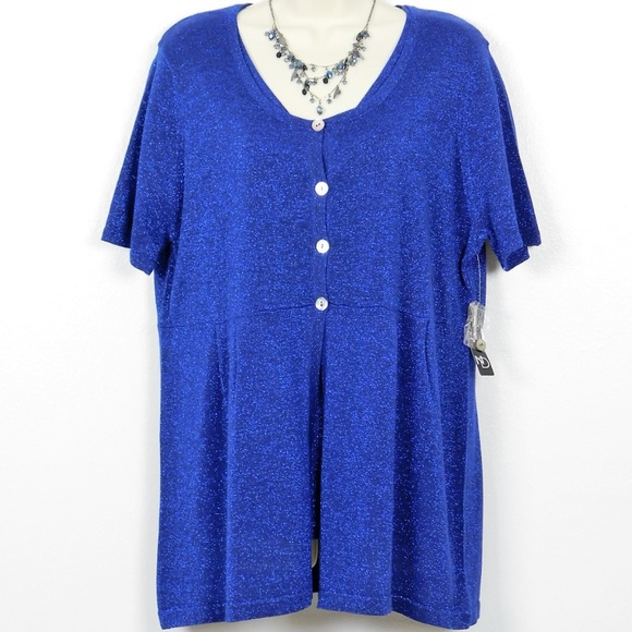 2692561b5ba9 new directions Sweaters | Nwt Metallic Cobalt Knit Top Cardigan ...